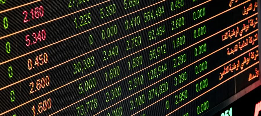 Stock Exchange electronic board with numbers and indicators
