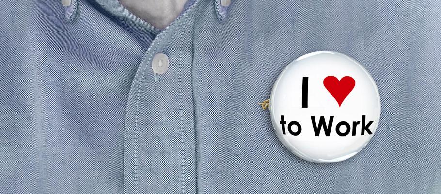I Love to Work Pin Button Enjoy Job Career